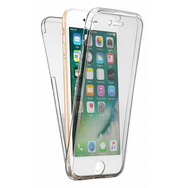 Husa Full TPU 360 (fata + spate) iPhone 8, Gri Transparent 0