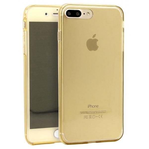 Husa Full TPU 360 (fata + spate) iPhone 8 Plus, Gold Transparent 1