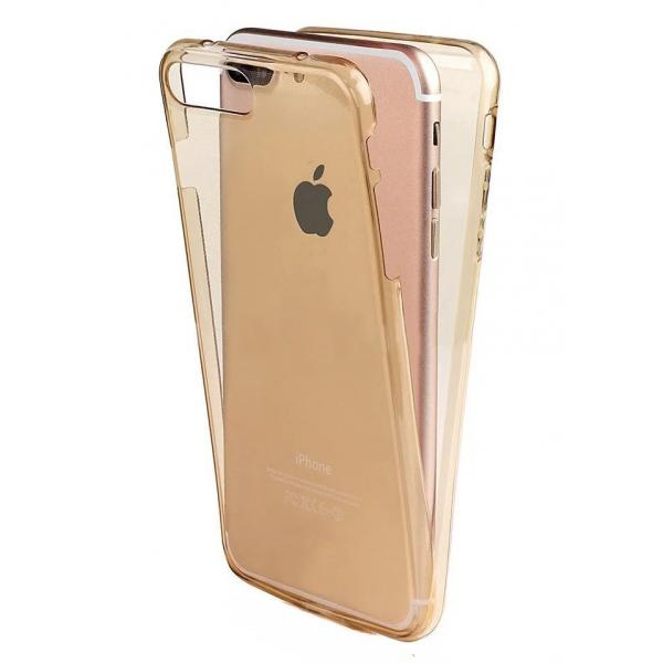 Husa Full TPU 360 (fata + spate) iPhone 8 Plus, Gold Transparent 0