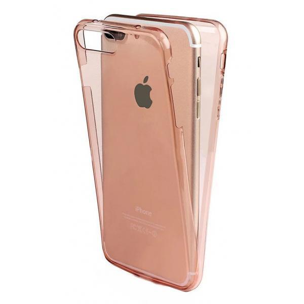 Husa Full TPU 360 (fata + spate) iPhone 8 Plus, Rose Gold Transparent [0]