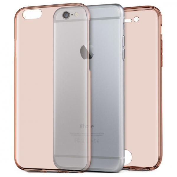 Husa Full TPU 360 (fata + spate) iPhone 8, Rose Gold Transparent 0