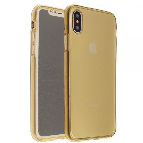 Husa Full TPU 360 (fata + spate) iPhone X, Gold Transparent [0]