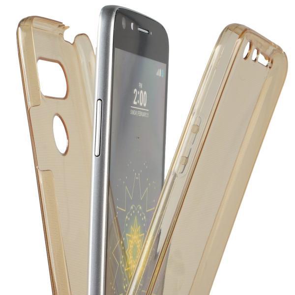 Husa Full TPU 360 (fata + spate) LG G5, Gold Transparent 4