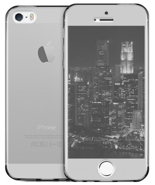 Husa Full TPU 360 (fata + spate) pentru Apple iPhone 5 / 5S / SE, Gri Transparent [1]