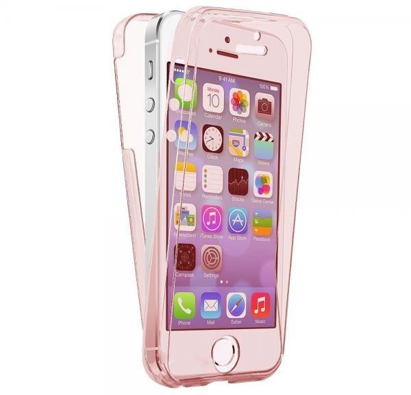 Husa Full TPU 360 (fata + spate) pentru Apple iPhone 5 / SE / 5S, Rose Gold transparent 0