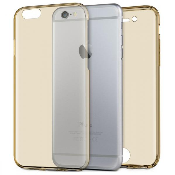Husa Full TPU 360 (fata + spate) pentru Apple iPhone 6 / 6S, Gold Transparent [0]
