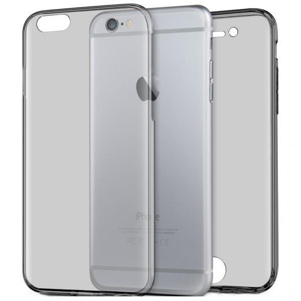 Husa Full TPU 360 (fata + spate) pentru Apple iPhone 6 / 6S, Gri Transparent 0
