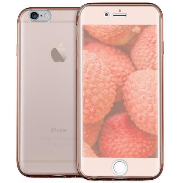 Husa Full TPU 360 (fata + spate) pentru Apple iPhone 6 / 6S, Rose Gold Transparent