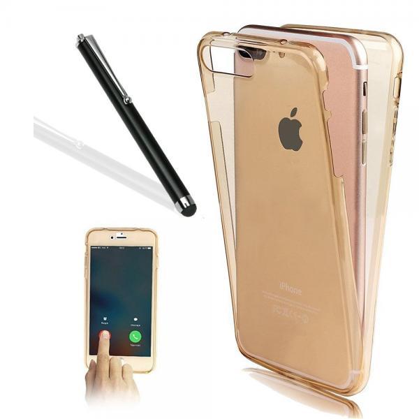 Husa Full TPU 360 (fata + spate) pentru Apple iPhone 7 Plus, Gold Transparent