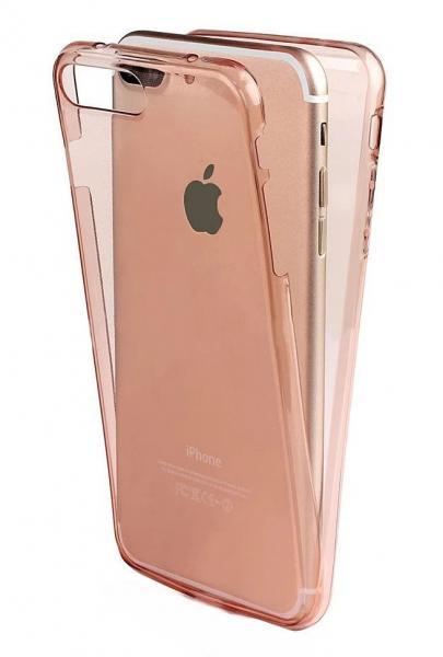Husa Full TPU 360 (fata + spate) pentru Apple iPhone 7 Plus, Rose Gold Transparent 0