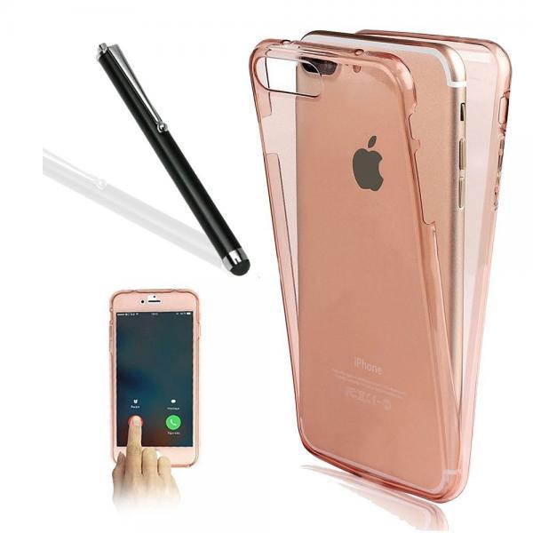 Husa Full TPU 360 (fata + spate) pentru Apple iPhone 7 Plus, Rose Gold Transparent 1