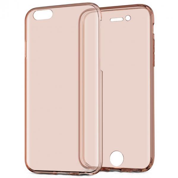 Husa Full TPU 360 (fata + spate) pentru Apple iPhone 7, Rose Gold Transparent 2