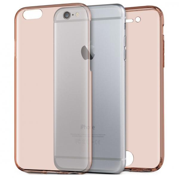 Husa Full TPU 360 (fata + spate) pentru Apple iPhone 7, Rose Gold Transparent
