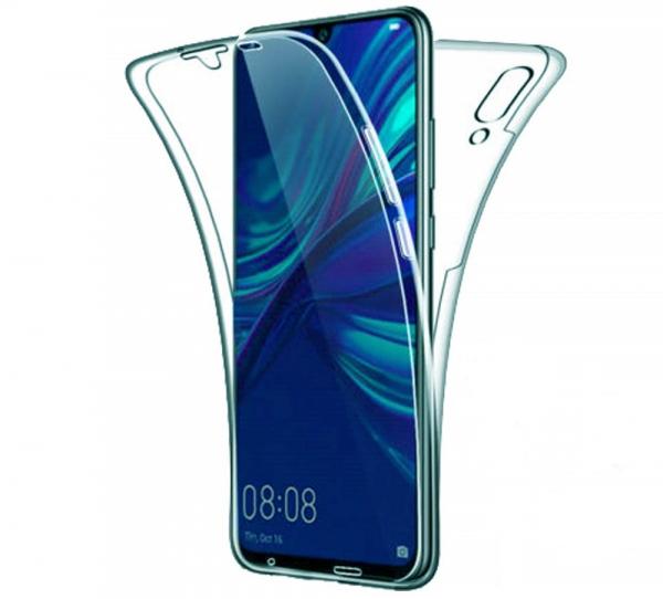 Husa Full TPU 360 fata + spate pentru Huawei P Smart (2019), Albastru Transparent 0
