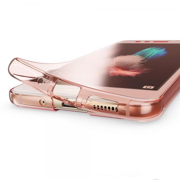Husa Full TPU 360 (fata + spate) pentru Huawei P10 Lite, Rose Gold Transparent 1