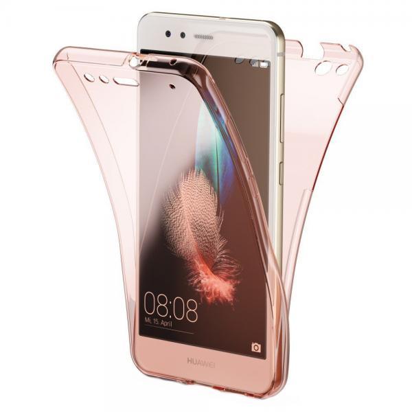 Husa Full TPU 360 (fata + spate) pentru Huawei P10 Lite, Rose Gold Transparent 0
