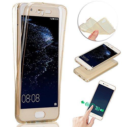 Husa Full TPU 360 (fata + spate) pentru Huawei P10 Plus, Gold Transparent 1