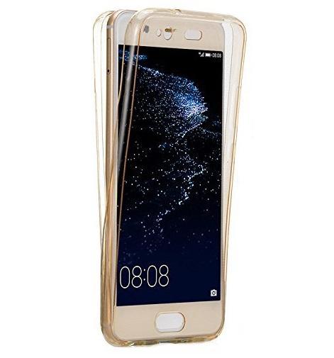 Husa Full TPU 360 (fata + spate) pentru Huawei P10 Plus, Gold Transparent 0