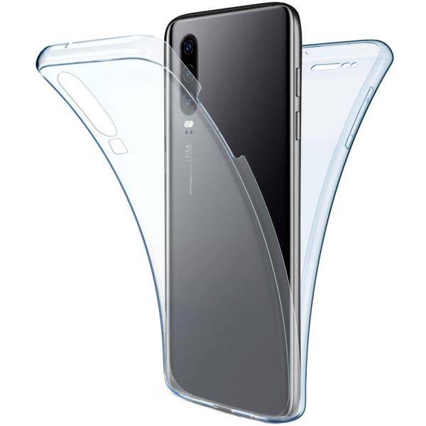 Husa Full TPU 360 fata + spate pentru Huawei P30, Albastru Transparent 0