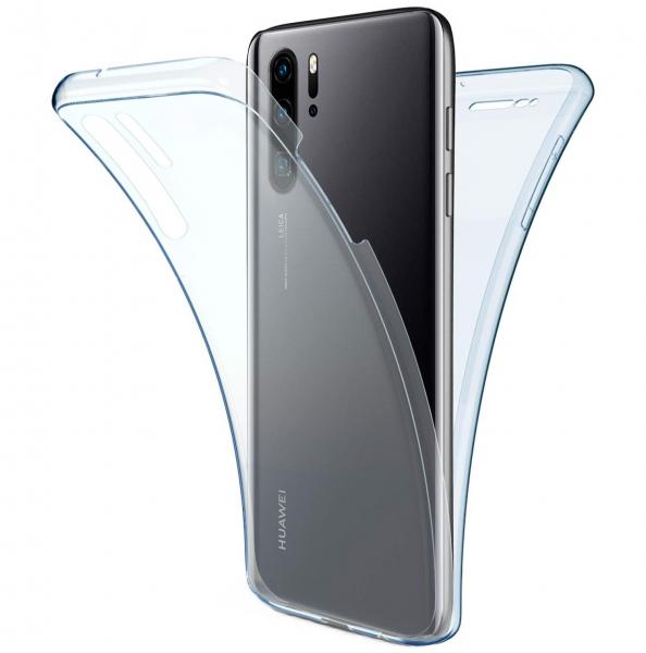 Husa Full TPU 360 fata + spate pentru Huawei P30 Pro, Albastru Transparent 0