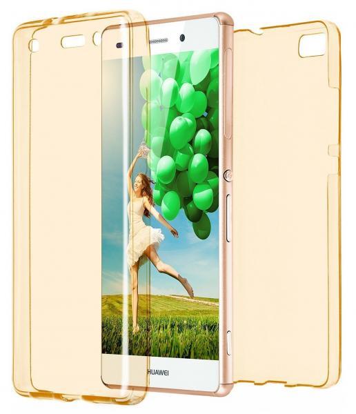 Husa Full TPU 360 (fata + spate) pentru Huawei P8 Lite, Gold Transparent 0