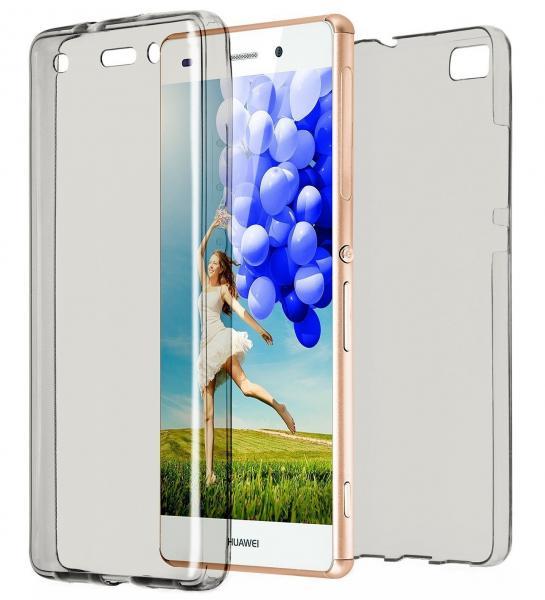 Husa Full TPU 360 (fata + spate) pentru Huawei P8 Lite, Gri Transparent [0]