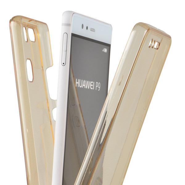 Husa Full TPU 360 (fata + spate) pentru Huawei P9, Gold Transparent 3