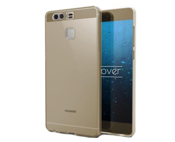 Husa Full TPU 360 (fata + spate) pentru Huawei P9, Gold Transparent 0