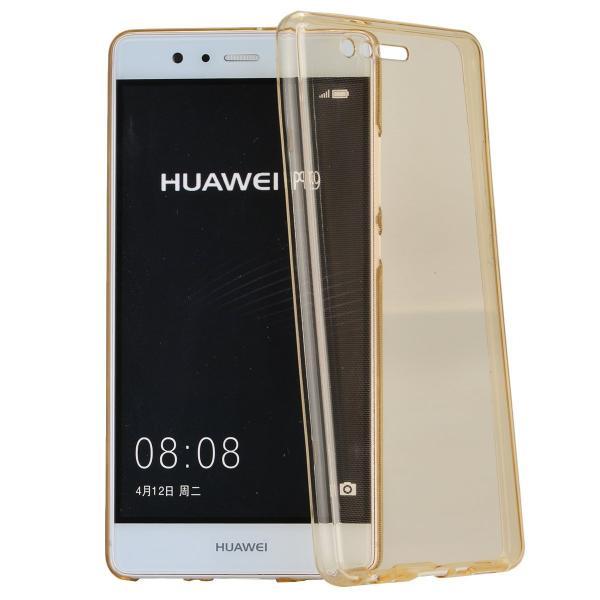 Husa Full TPU 360 (fata + spate) pentru Huawei P9, Gold Transparent 2