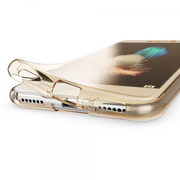 Husa Full TPU 360 (fata + spate) pentru Huawei P9 Lite 2017, Gold Transparent