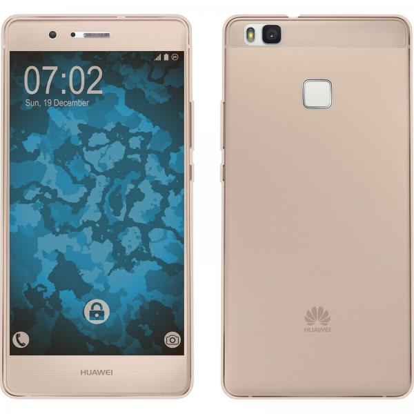 Husa Full TPU 360 (fata + spate) pentru Huawei P9 Lite, Gold Transparent