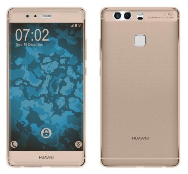 Husa Full TPU 360 (fata + spate) pentru Huawei P9 Plus, Gold transparent