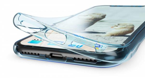 Husa Full TPU 360 fata + spate pentru iPhone XR, Albastru transparent 3