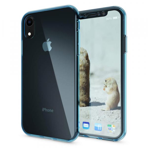 Husa Full TPU 360 fata + spate pentru iPhone XR, Albastru transparent 2