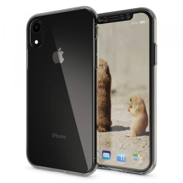 Husa Full TPU 360 fata + spate pentru iPhone XR, Gri transparent 2