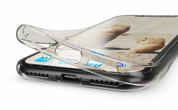 Husa Full TPU 360 fata + spate pentru iPhone XR, Gri transparent 1