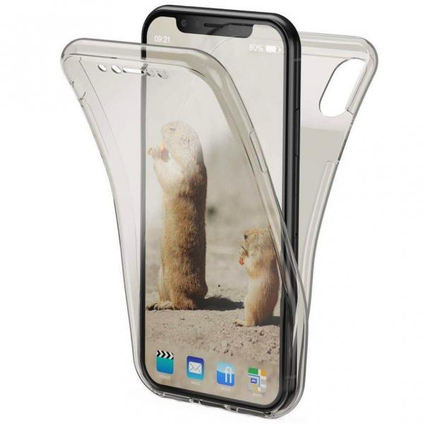 Husa Full TPU 360 fata + spate pentru iPhone XR, Gri transparent 0