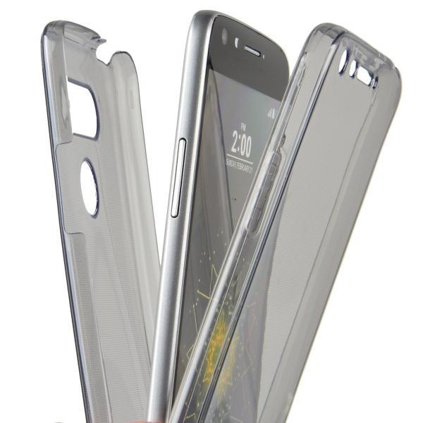 Husa Full TPU 360 (fata + spate) pentru LG G5, Gri Transparent 2