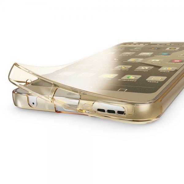 Husa Full TPU 360 (fata + spate) pentru LG G6, Gold Transparent 1