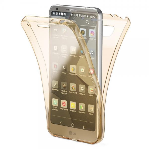 Husa Full TPU 360 (fata + spate) pentru LG G6, Gold Transparent 0