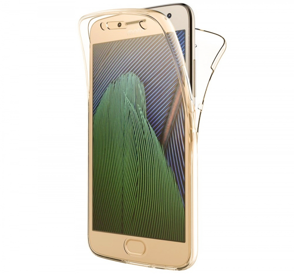 Husa Full TPU 360 fata + spate pentru Motorola Moto G5 Plus, Gold transparent