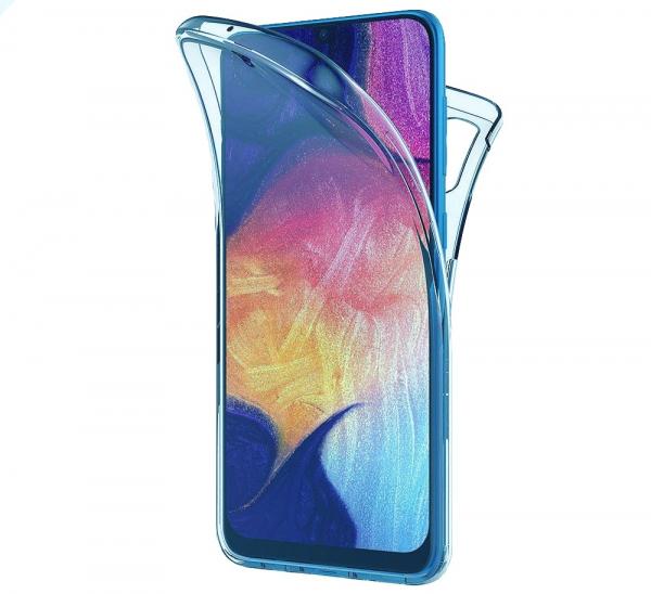 Husa Full TPU 360 fata + spate pentru Samsung Galaxy A40, Albastru Transparent 0