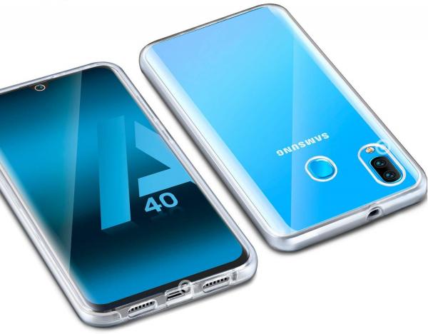 Husa Full TPU 360 fata + spate pentru Samsung Galaxy A40, Transparent 1