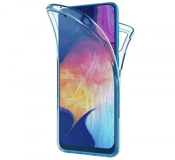 Husa Full TPU 360 fata + spate pentru Samsung Galaxy A50, Albastru Transparent 0