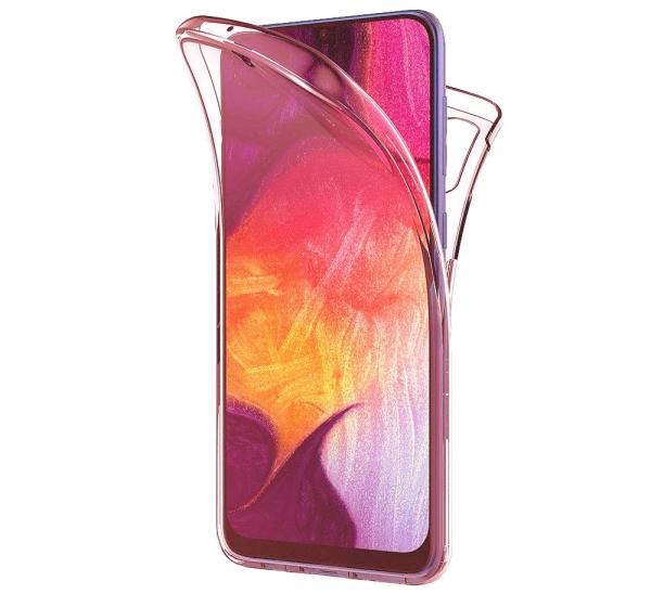 Husa Full TPU 360 fata + spate pentru Samsung Galaxy A50, Rose Gold Transparent 0
