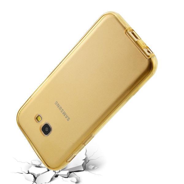 Husa Full TPU 360 (fata + spate) pentru Samsung Galaxy A7 (2017), Gold transparent 2