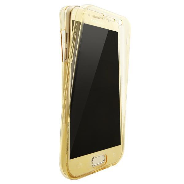 Husa Full TPU 360 (fata + spate) pentru Samsung Galaxy A7 (2017), Gold transparent 0