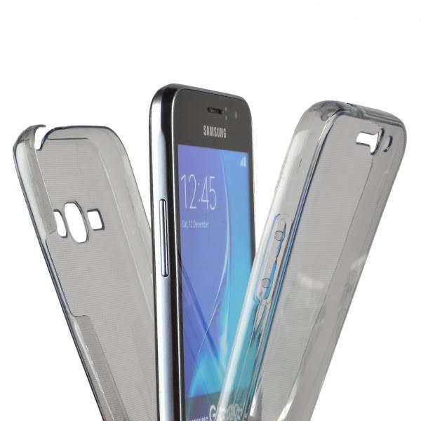 Husa Full TPU 360 (fata + spate) pentru Samsung Galaxy J1 (2016), Gri Transparent 1