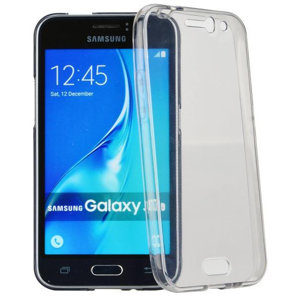 Husa Full TPU 360 (fata + spate) pentru Samsung Galaxy J1 (2016), Gri Transparent 0