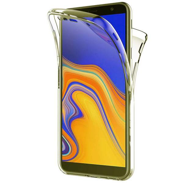 Husa Full TPU 360 fata + spate pentru Samsung Galaxy J4 Plus (2018), Gold Transparent 0